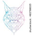 abstract portrait of a wild cat.... | Shutterstock .eps vector #483788035
