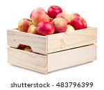 Wooden Box Full Of Fresh Apple...