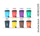 recycle waste bins vector... | Shutterstock .eps vector #483801205