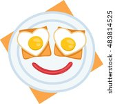 with egg sauce and toasts face...   Shutterstock .eps vector #483814525