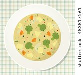 plate of vegetarian broccoli... | Shutterstock .eps vector #483817561