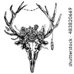Hand Drawn Reindeer Skull With...