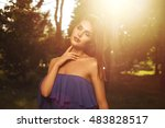 young beautiful brunette... | Shutterstock . vector #483828517