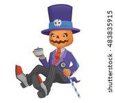 pumpkin halloween costume...   Shutterstock .eps vector #483835915