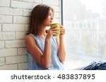 caucasian girl in pensive mood... | Shutterstock . vector #483837895