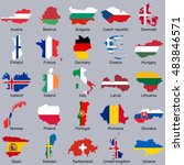 european flags in map shape  ...   Shutterstock .eps vector #483846571