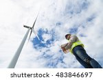 electrical engineers working at ... | Shutterstock . vector #483846697