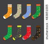 design colorful socks set... | Shutterstock .eps vector #483851005