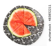 watermelon slices on a plate ... | Shutterstock . vector #483852211