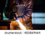 cutting metal with plasma... | Shutterstock . vector #483869464