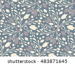 organic floral pattern in muted ... | Shutterstock .eps vector #483871645
