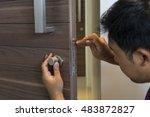 locksmith man fix the bathroom...   Shutterstock . vector #483872827