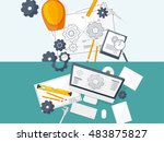 engineering and architecture.... | Shutterstock . vector #483875827