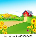 beauty farm with landscape... | Shutterstock .eps vector #483886471