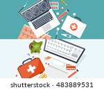 medical flat background. health ... | Shutterstock . vector #483889531