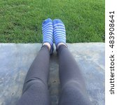 selfie feet wearing blue... | Shutterstock . vector #483908641