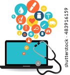 laptop with colorful medical...   Shutterstock .eps vector #483916159