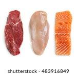 raw beef steak  chicken breast  ... | Shutterstock . vector #483916849