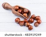 hazelnuts in wooden scoop on...   Shutterstock . vector #483919249