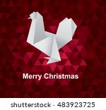 polygonal cock. origami style.... | Shutterstock .eps vector #483923725