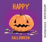 halloween pumpkin. happy... | Shutterstock .eps vector #483928189