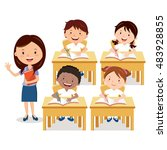 school lesson. teacher and... | Shutterstock .eps vector #483928855