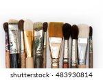 paint brushes over white...   Shutterstock . vector #483930814