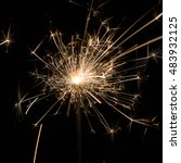 burning sparkler isolated on... | Shutterstock . vector #483932125