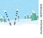 skiing in the forest .landscape ... | Shutterstock .eps vector #483933835