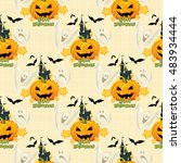 seamless halloween pattern with ... | Shutterstock .eps vector #483934444