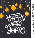 happy new year lettering with... | Shutterstock .eps vector #483936109