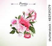 bouquet of peonies  watercolor  ... | Shutterstock .eps vector #483939379