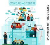 coworking centre composition... | Shutterstock . vector #483943369