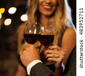 couple drinking wine after... | Shutterstock . vector #483952711