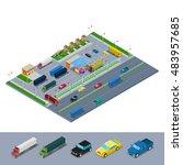 isometric road highway... | Shutterstock .eps vector #483957685