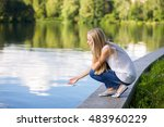 young beautiful blonde girl on... | Shutterstock . vector #483960229