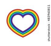 rainbow icon heart. flat sign ... | Shutterstock . vector #483960811