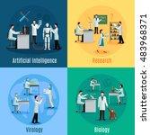 scientists 2x2 design concept... | Shutterstock . vector #483968371
