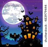 halloween night background with ... | Shutterstock .eps vector #483979444