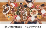 people eat healthy meals with... | Shutterstock . vector #483994465