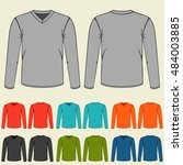 set of colored long sleeve... | Shutterstock .eps vector #484003885