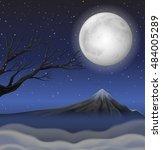 scene with mountain on fullmoon ... | Shutterstock .eps vector #484005289