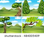 scene with green grass and... | Shutterstock .eps vector #484005409