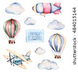 watercolor collection with air... | Shutterstock . vector #484015144