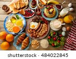 breakfast buffet full... | Shutterstock . vector #484022845