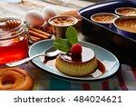 custard creme caramel flan... | Shutterstock . vector #484024621