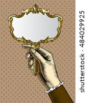 woman's hand with a gold retro... | Shutterstock .eps vector #484029925