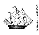 hand drawn doodle ship. travel  ... | Shutterstock .eps vector #484033081