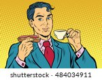 retro businessman eating... | Shutterstock .eps vector #484034911
