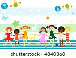 group of kids playing  abstract ... | Shutterstock .eps vector #4840360